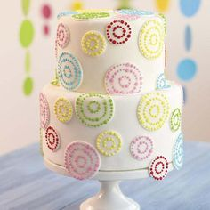Circular Colorful Dots Applique Whimsical Cake