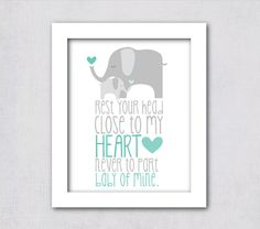 INSTANT DOWNLOAD - Elephant Baby of Mine Nursery Art Blue Gray DIY Printable 8x10 Print
