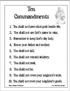 Catholic Ten Commandments Printable Sheets | Search Results | Calendar ...