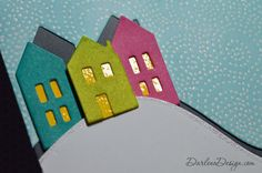 Cozy Christmas houses with embossed windows