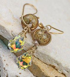 Sunlight Kiss  Gold Glass Gemstone & Swarovski by JewelsByLDesigns, $75.00