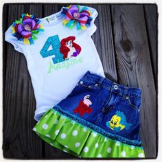 custom person, mermaid parti, mermaid princess, little mermaid birthday outfit, princess set