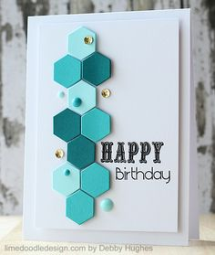 "handmade birthday card from limedoodleCBShoneycomb ... small hexagons die cut in aquas form a column with enamel dots and sequins ... two fun fonts for ""HAPPY birthday"" ... great card!"