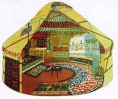 Cutaway diagram of Qazaq yurt, similar to a full-size example in the Ili Kazak Autonomous Prefecture Museum, Yining.