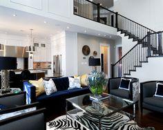 blue velvet, interior design, coffee tables, living rooms, floor plan, cowhide rugs, live room, black, zebra print