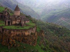 This Monastery in Armenia overlooks an incredible view. dream big, castl, armenia, centuri monasteri, dream homes, old houses, mountain retreats, first place, 9th centuri