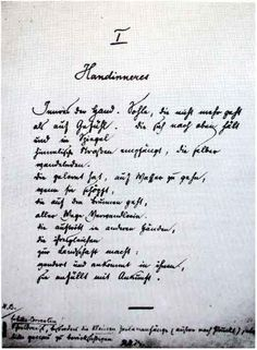 Manuscript of The Palm of the Hand by Rainer Maria Rilke (Switzerland 1924)