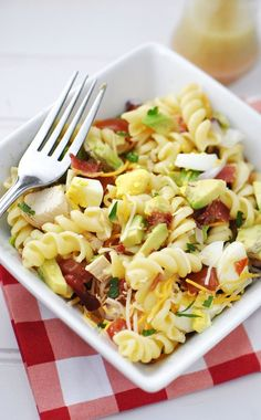 The Cobb & Rotini Pasta Salad Recipe has everything but the lettuce, in this spin off of a classic Cobb salad.