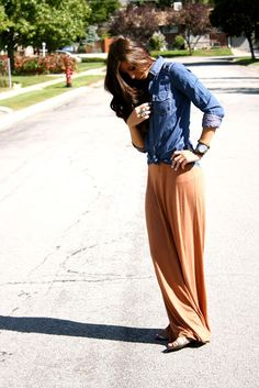 Cute collared shirt with brown maxi skirt so cute