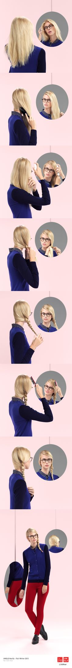"""""""THE SLICK BRAID"""" : A cardigan and ultra stretch jeans make this sporty look complete. Click the image for DIY instructions! #Braid #Hair #DIY #Hairstyle #UNIQLO"""