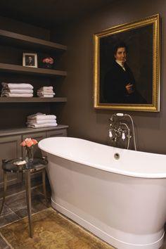 I love this image of a classic bath with dark walls, like a bathroom inside a library. Very inspiring! #fifthwallfriday #ceilume #ceiling #interior #design #diy #bathroom