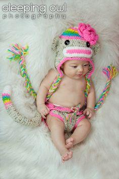 Rainbow Sock Monkey Hat & Diaper Cover SET Newborn 3m 6m Baby Photo Prop Crochet Girls Clothes Valentines Day CUTE. $69.95, via Etsy.
