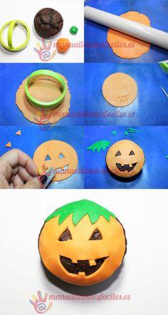 Cupcake calabaza de Halloween