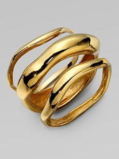 stacked bracelets, bangl bracelet, kara ross, the wave, wave bangl, jewelry displays, jewelry bracelets, gold jewelry, bangle bracelets