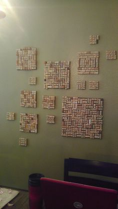 Guest book for our wedding . We had everyone sign a wine cork and I made it into wall art.