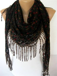 NEW  Black Scarf  Elegant  Scarf Fashion Scarf  by SmyrnaShop, $17.90