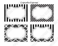 DIY Paris Black  White Damask stripe polka dots PRINTABLE Party Labels Tags Display card -Cupcake Express