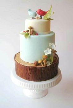 Woodland baby shower cake OR bridal shower cake, squeeeee!