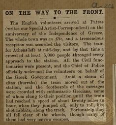 On the way to the front: How the English volunteers were sent off from Patras.The Daily Graphic, April 15, 1897.
