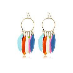 Multi coloured feather earrings ♥