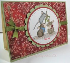 use any House Mouse Christmas image, use pop dots behind scallop layer, card is 5X7