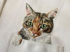 cats, embroid cat, dress shirts, pocket, embroideri cat, cat embroideri, the artist, hiroko kubota, embroidery