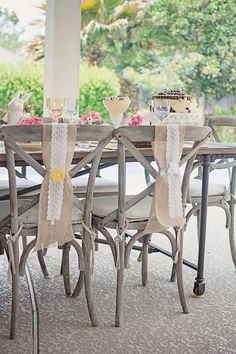 Cute chair tie/cover from this Shabby Chic Woodland Party with Such Cute Party Ideas via Kara's Party Ideas | Full of decorating ideas, cake, cupcakes, desserts, games, and MORE! KarasPartyIdeas.com #shabbychic #easterparty #springparty #woodlandparty #partydecor #partyplanning #partyideas (13)