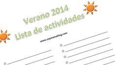 Imprimible: Lista de actividades - Verano 2014