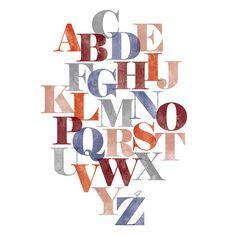 Alphabet Poster #rust #indigo #blue #orange #camillestyles #fonts