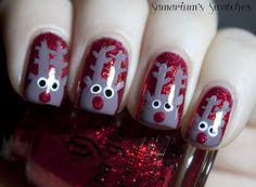 Rudolph Christmas nail art