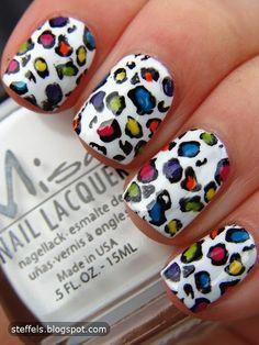 #nail color, cheetah print, cheetah nails, nail arts, leopard nails, animal prints, nail design, rainbow, leopard prints