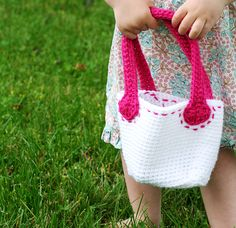 Pink Stitched Crochet Purse for Little Girls by AdorkableCrochet