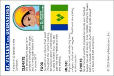 St. Vincent and the Grenadines Fact Card printable from MakingFriends.com #worldthinkingday