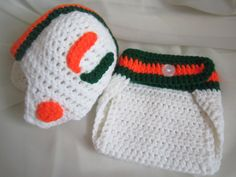 If I ever have a kid...University of Miami Football Hat  --  Hurricanes Football --  Sizes 0-3 months or 3-6 months -- Football Baby  - U of Miami. $33.00, via Etsy.