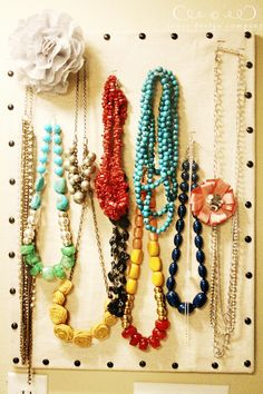 Jewelry organizing pin board.