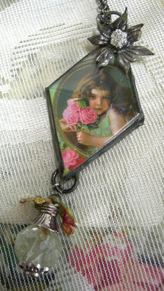 Soldered Diamond Crystal Assemblage Pendant by Vintagearts on Etsy, $65.00