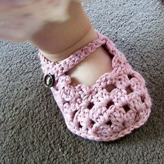 Free Crochet Sole Lovely Mary Janes Pattern.