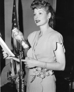 Lucy at the microphone*perhaps doing an episode of My Favorite Husband?*