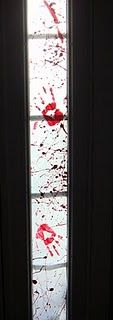 """Bloodify"" Windows with a little wax paper & red paint"