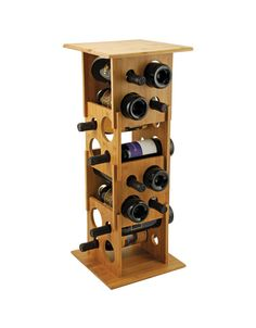 Deco Tower Bamboo Wine Rack for $95 from WineRacks.com.  Deco Tower Bamboo Wine Rack $95.00 Inspired by the art deco era, this one-of-a-kind stackable wine rack can easily be customized to fit your wine collection.  Remove a side panel to make a shorter tower to combine all pieces to hold 16 bottles.        Made of durable bamboo     Remove and stack panels to fit any space     Max capacity is 16 standard size bottles