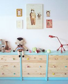 Kids' Toy Storage: Multiple Painted Three-Drawer Dressers Offer a Playful Coloured Option | decoralia.es | House & Home.