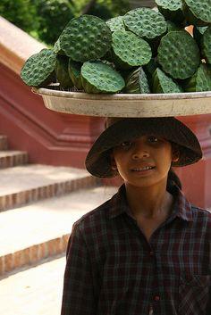 Lotus pods seller, Wat Phnom Park, Cambodia by Digital Watts.