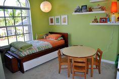green and orange bedroom