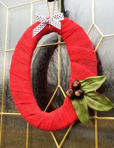 "Red Burlap ""O"" Ohio State Decor with Silk Leaves by TheCraftyChicShoppe, $23.00"