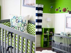 Green and Navy blue nursery