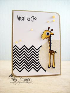 anim card, card idea, craft, paper smooches, giraff, papers, babi card, scrapbook, chevron