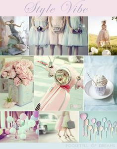 IWedding Inspiration Boards on Love My Dress, by event planner Pocketful of Dreams. Pale pink, green, blue, scooter, balloons #wedding