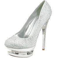 This lavish pair of rhinestone embedded closed toe pumps boasts a beautiful platform design and an embedded heel!