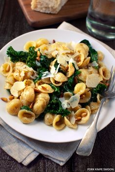 Orecchiette with Wilted Spinach, Kale and Toasted Pine Nuts by forkknifeswoon #Weeknight_Dinner #Pasta #Spinach #Kale #Pine_Nuts