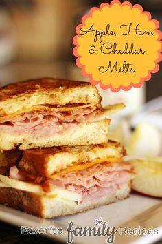What I am craving for lunch: Apple Ham & Cheddar Melts from FavFamilyRecipes.com #sandwich #lunch